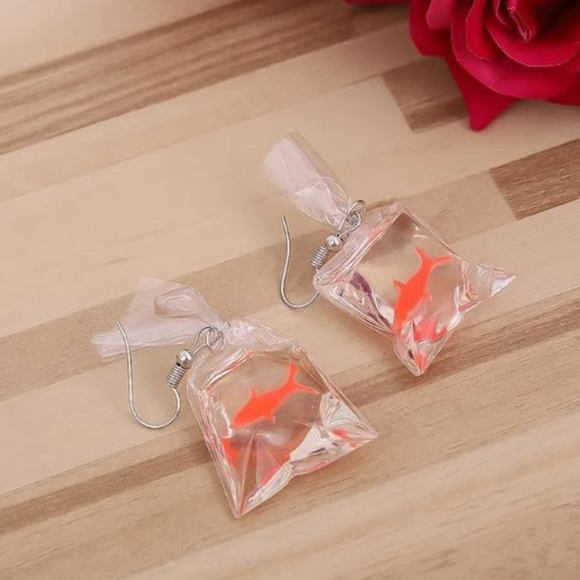 Cute4less2012 Jewelry - 🐠 5/$24 Acrylic Orange Gold Fish in a Bag Hooks